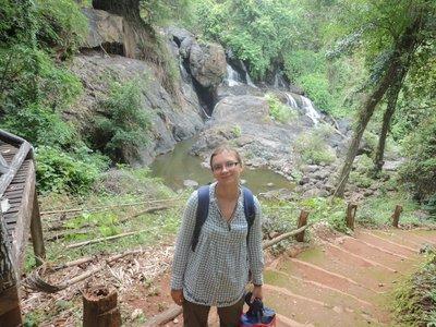 Walking to waterfalls nearby