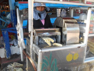They use this machine to do sugar cane juice