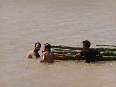 Pushing Bamboo in the Mekong