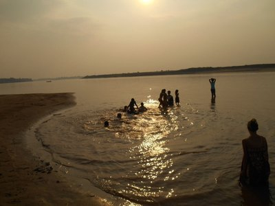 Children playing in the Mekong
