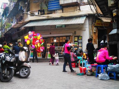 Typical busy and touristic street in Hanoi