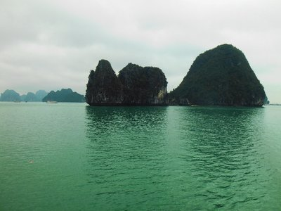 Halong Bay, water was really a deep turquoise colour