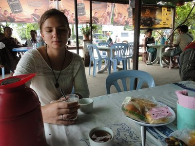 Drinking tea in a local place
