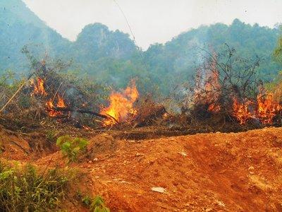 A lot of bush fires in Laos
