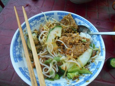 Street food, noodles with grilled meat, really tasty