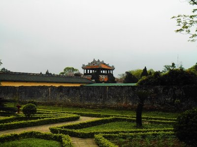 Gardens inside the main complex in the forbidden city. Hue