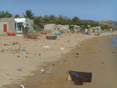 The other side of the beach in Ninh Chu, local people weren't very bothered with cleaning
