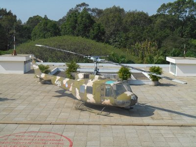 Helicopter in the roof of the presidential palace, same model as the original