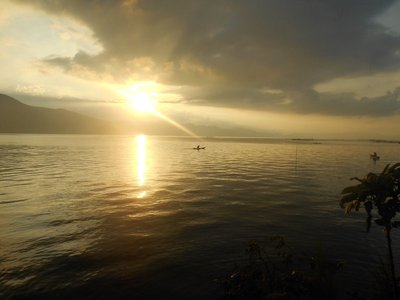 Sunrise in lake toba