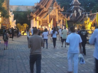 Buddha's day celebration, you need to around the temple at least 3 times