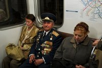 Veteran on a train