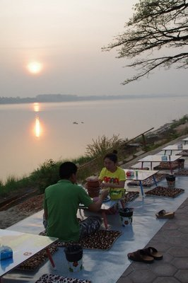 Le lond du Mékong à Vientiane