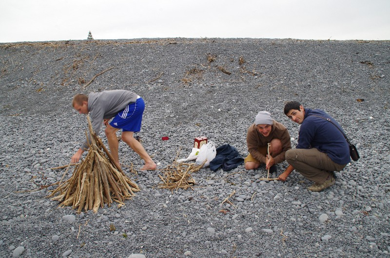 Soirée feu sur la plage de Kaikoura