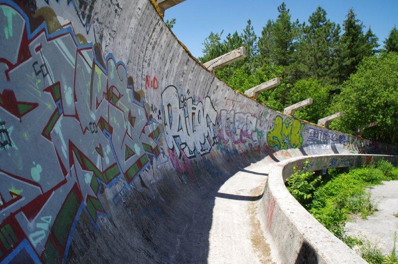 Piste de bobsleigh des jeux olympiques de Sarajevo en 1984