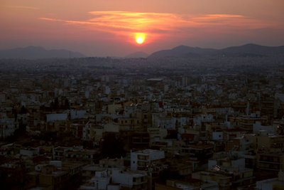 Athens during the sunset