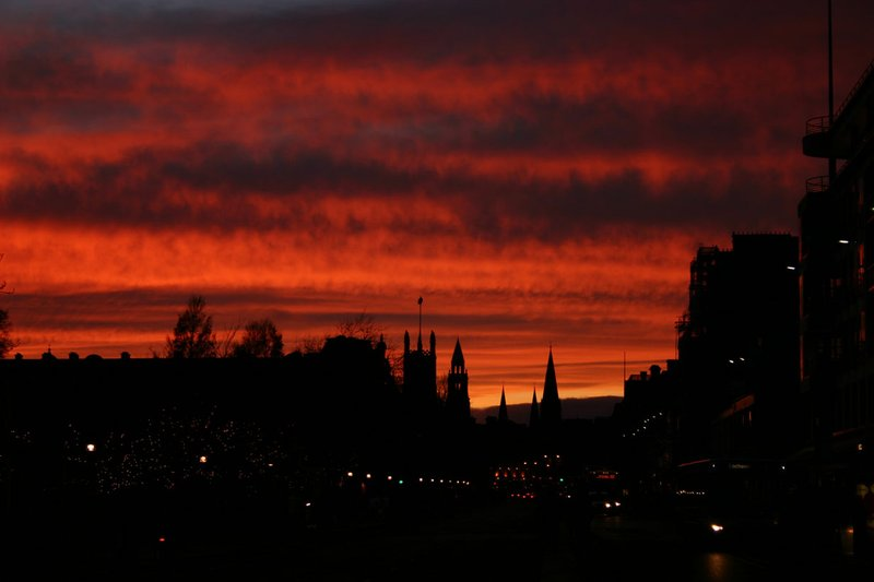 Sunset over the city of Edinburgh 2