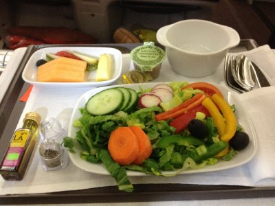 Our first plant-strong meal on Iberia Airlines.