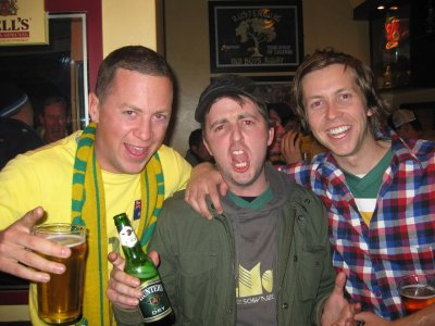 In a bar in Rustenburg after the 1-1 draw with Ghana, we ran into our old mate Pete Sherry who Morto and I grew up with in Warrnambool. Unbelievable, since he was supposed to be in London. Pete then became our new travel partner for the next week.