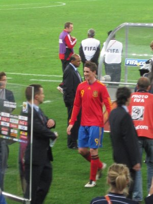 A happy Fernando Torres leaves the field in front of our newly acquired category 1 seats