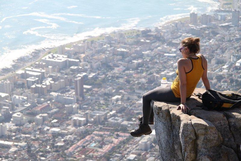 Random girl overlooking Cape Town