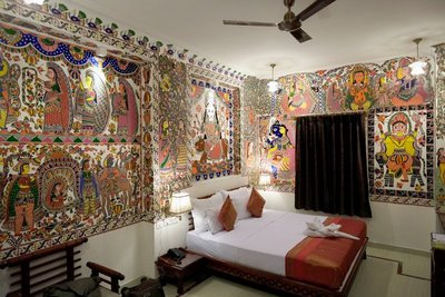 Hand-painted walls, Pearl Palace Heritage Hotel, Jaipur, Rajasthan
