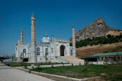 New mosque below Suleyman Too, Osh