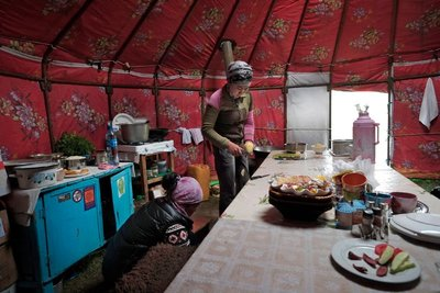 Dining yurt, Lake Song Kul