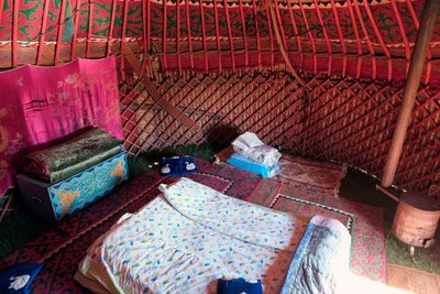 Our yurt, lake Song Kul (11 eu/person with breakfast)