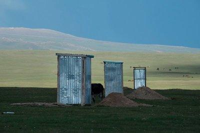Outhouses, CBT yurt camp, Lake Song Kul