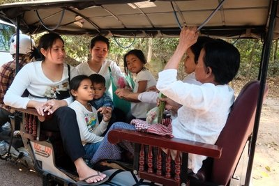Family in a tuk tuk, Angkor Wat