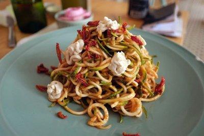 Delicious, organic, zucchini pasta