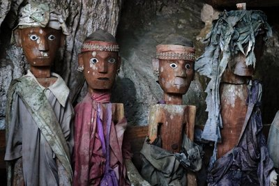 Close-up of Tau Tau (wooden effigies), Tampangallo burial cave