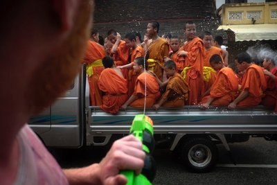 Monks under attack, Pi Mai Lao New Year, Luang Prabang