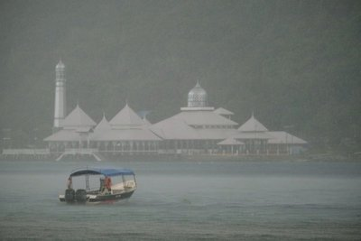 Mosque on Perhentian Kecil during a brief downpour