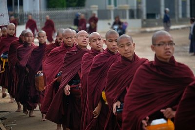 Young monks lining up for alms, Loikaw