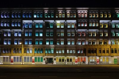 Colorful windows, Old Hill Street Police Station, Singapore