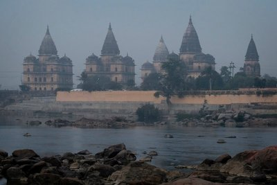 Orchha Chhatris (cenotaphs) on Betwa river, Madyha Pradesh