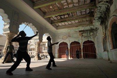 Playing badminton at City Palace, Alwar, Rajasthan