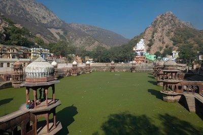Moss-covered tank (lake), City Palace, Alwar, Rajasthan