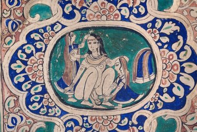 Haveli wall painting, woman giving birth, Mandawa, Rajasthan