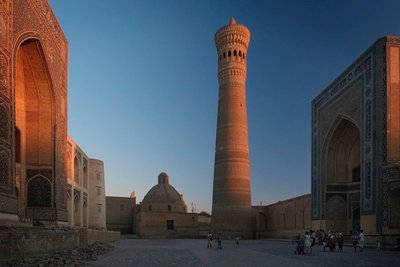 Kalon minaret and Mir-i-Arab madrasa,  Bukhara, UZ