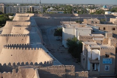 View of Meros Guest House (bottom right), Khiva, UZ