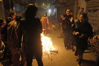 Lohri bonfire, celebrating the Winter Soltice, New Delhi