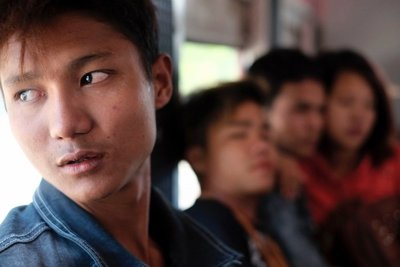 Young people on the train, Yangon