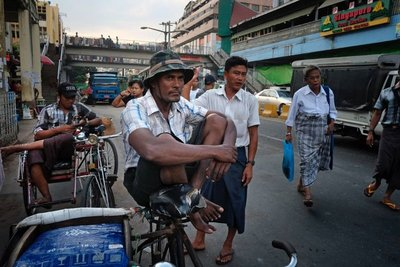 Guys on the street in Yangon