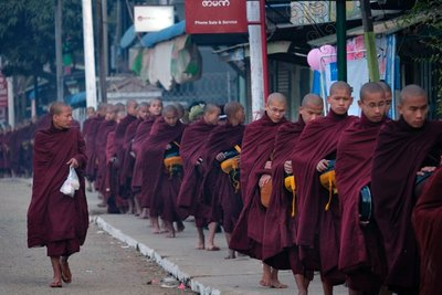 Monks lining up for alms, Loikaw