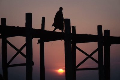 Monk on the U Bein Bridge