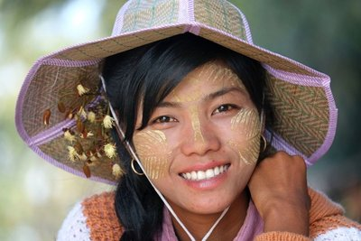 Girl with Thanaka designs on her face, Mandalay