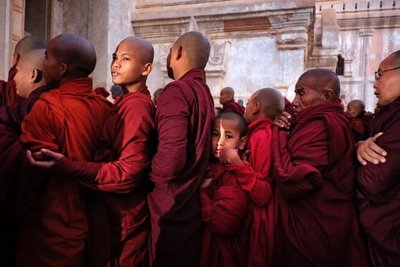Monks lining up for alms, Bagan