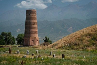 Burana Tower with 6th C. Bal Bal - gravestones of nomadic Turks